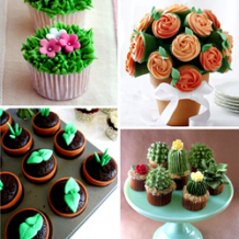 Flower cupcakes, plant cupcakes, bouquet cupcakes, succulent cupcakes--so many possibilities!